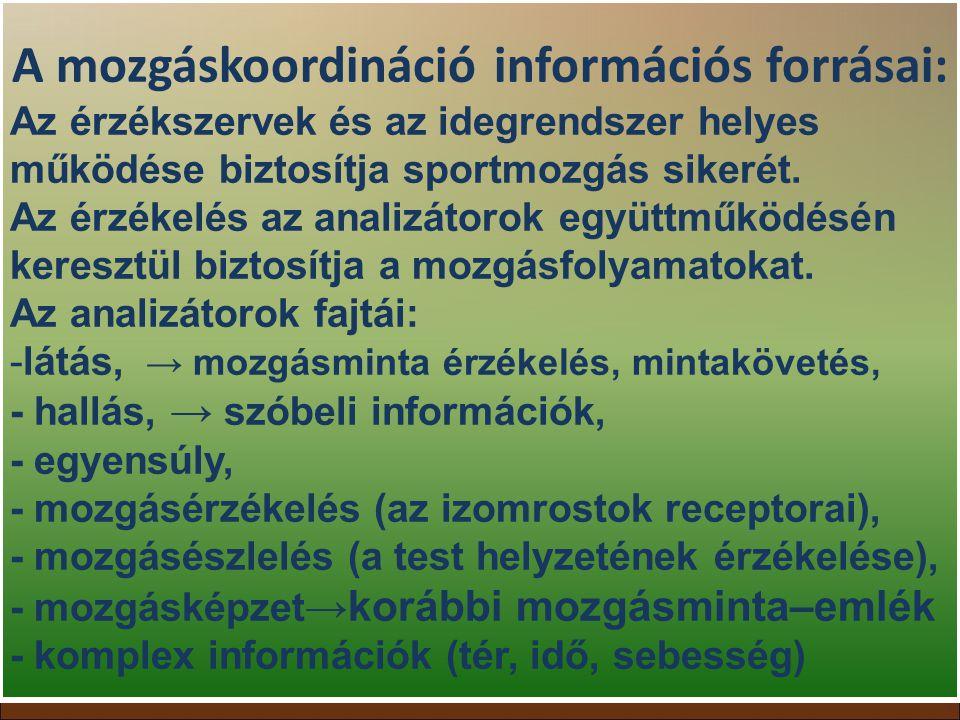 A mozgáskoordináció információs forrásai: