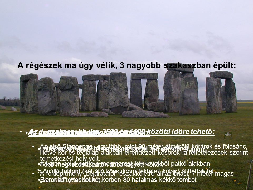 A régészek ma úgy vélik, 3 nagyobb szakaszban épült: