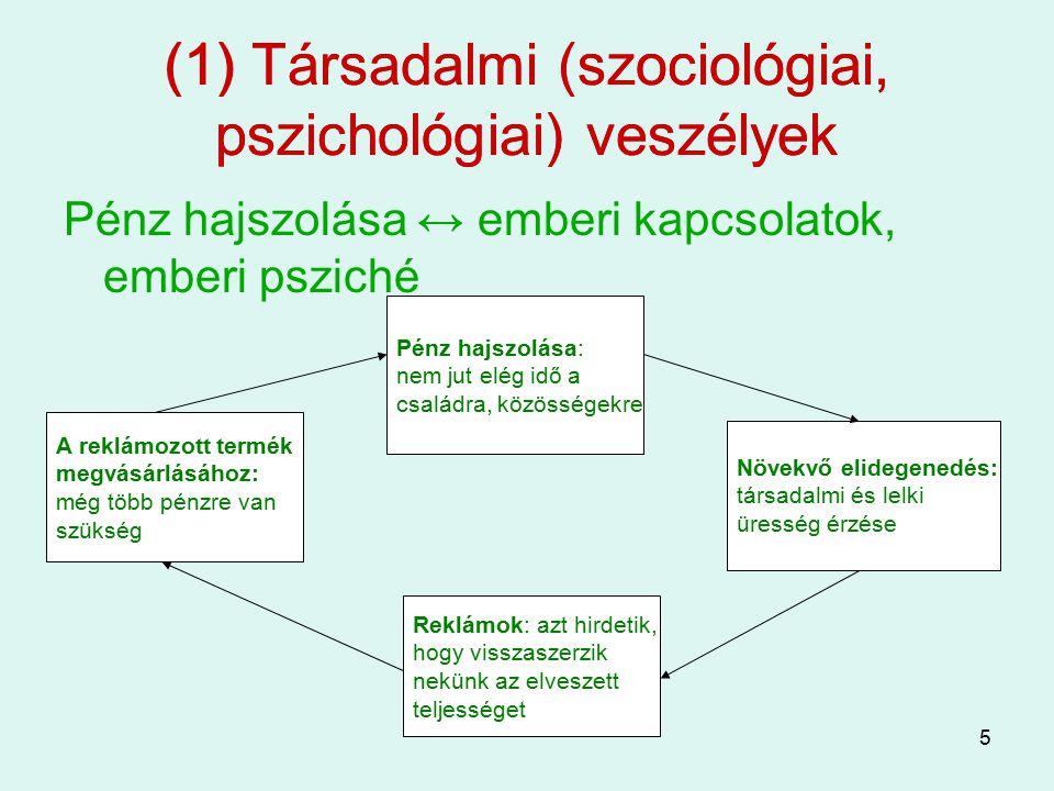 (1) Társadalmi (szociológiai, pszichológiai) veszélyek