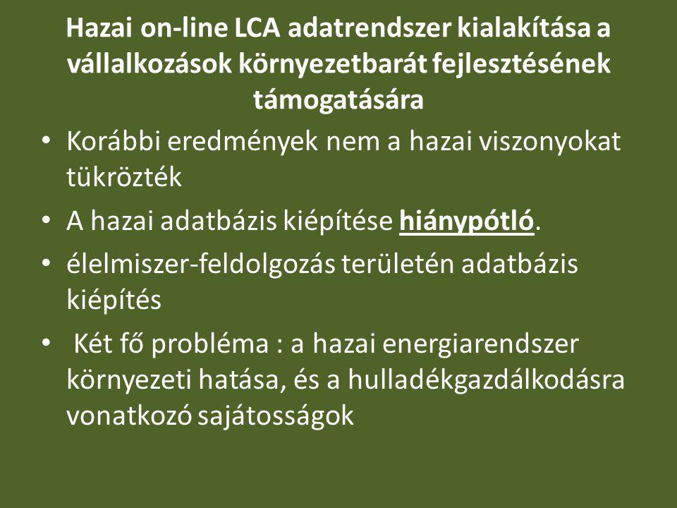 Hazai on-line LCA adatrendszer kialakítása a vállalkozások környezetbarát fejlesztésének támogatására