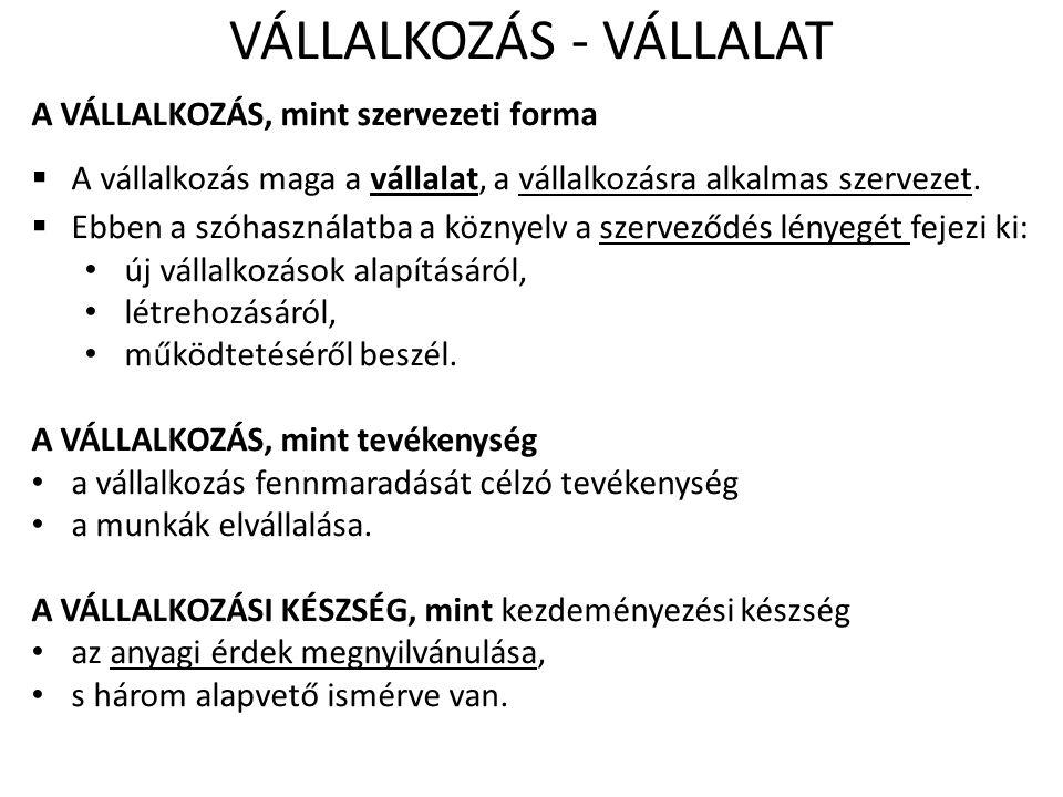 VÁLLALKOZÁS - VÁLLALAT