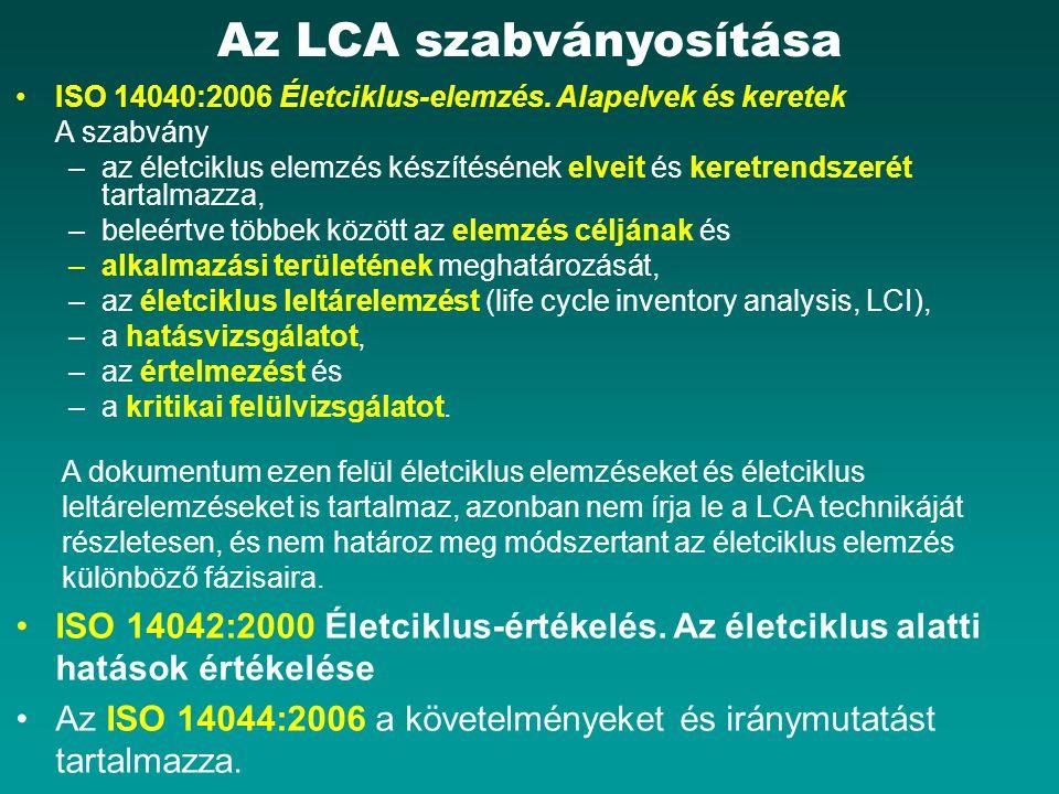 Az LCA szabványosítása