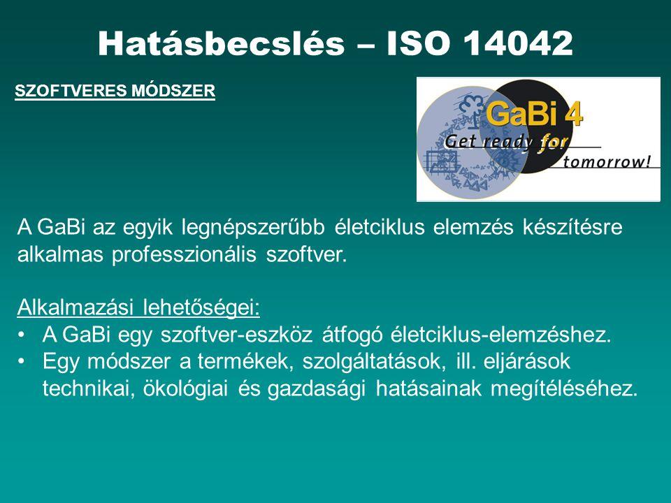 Hatásbecslés – ISO 14042 SZOFTVERES MÓDSZER. A GaBi az egyik legnépszerűbb életciklus elemzés készítésre alkalmas professzionális szoftver.