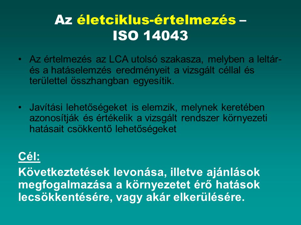 Az életciklus-értelmezés – ISO 14043