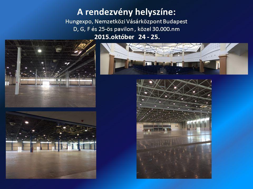 A rendezvény helyszíne: Hungexpo, Nemzetközi Vásárközpont Budapest D, G, F és 25-ös pavilon , közel 30.000.nm 2015.október 24 - 25.