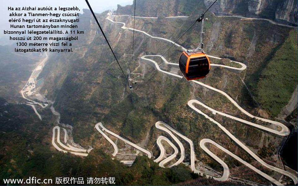 Ha az Aizhai autóút a legszebb, akkor a Tianmen-hegy csúcsát elérő hegyi út az északnyugati Hunan tartományban minden bizonnyal lélegzetelállító.