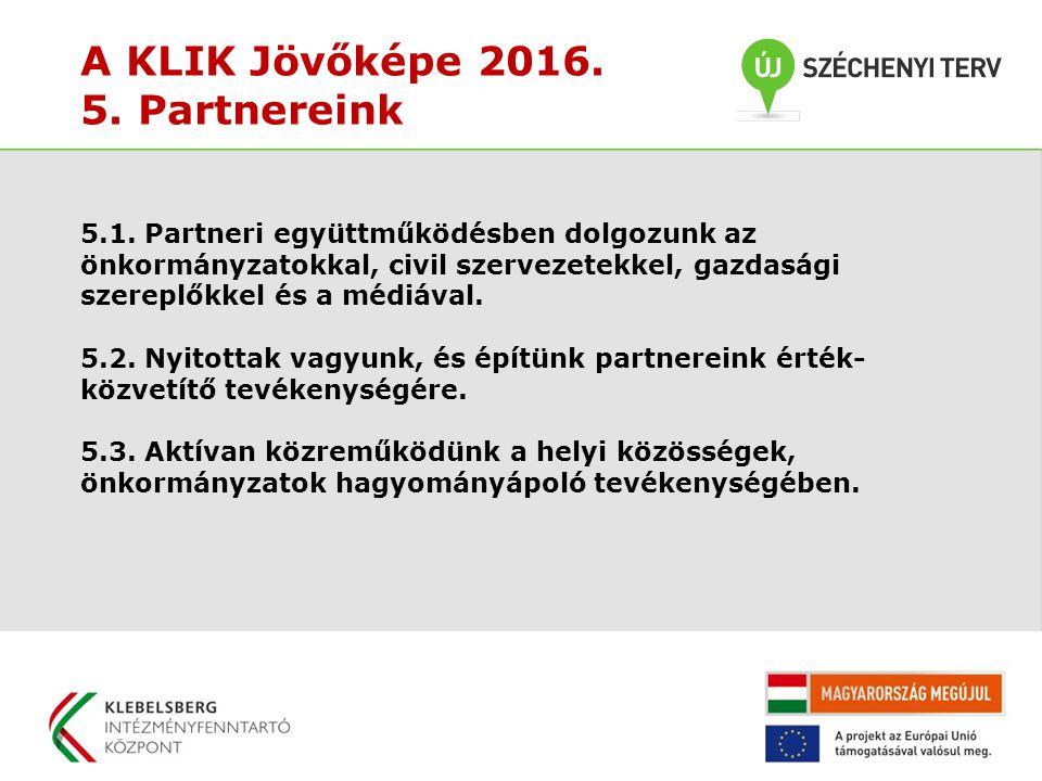 A KLIK Jövőképe 2016. 5. Partnereink