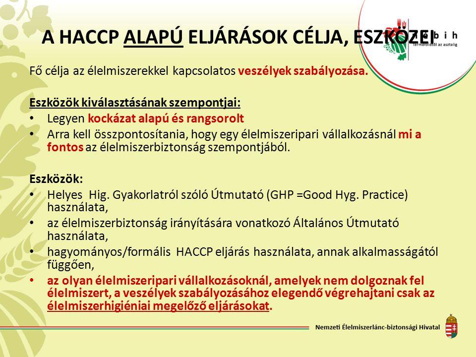 A HACCP ALAPÚ ELJÁRÁSOK CÉLJA, ESZKÖZEI