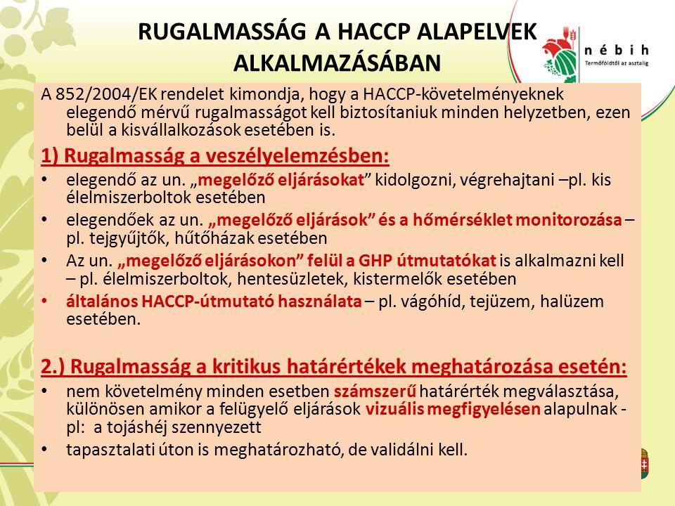 RUGALMASSÁG A HACCP ALAPELVEK ALKALMAZÁSÁBAN
