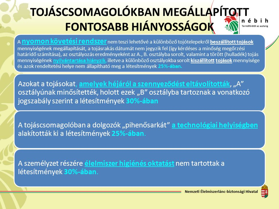 TOJÁSCSOMAGOLÓKBAN MEGÁLLAPÍTOTT FONTOSABB HIÁNYOSSÁGOK