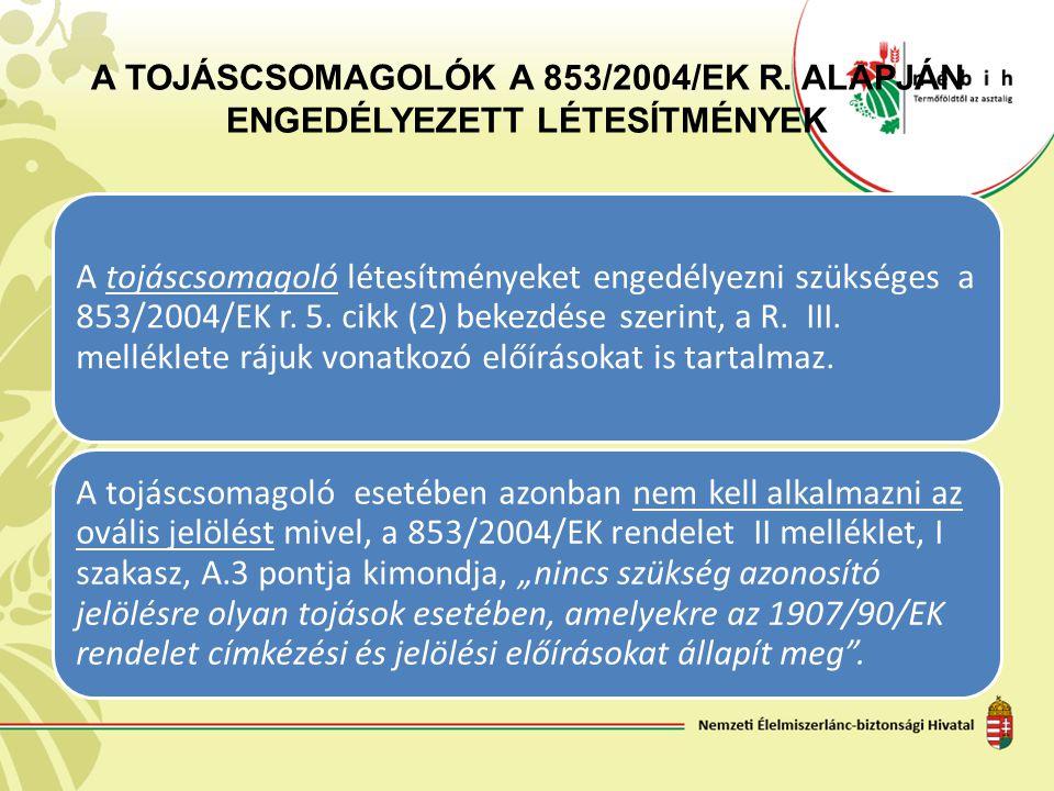 A TOJÁSCSOMAGOLÓK A 853/2004/EK R. ALAPJÁN ENGEDÉLYEZETT LÉTESÍTMÉNYEK