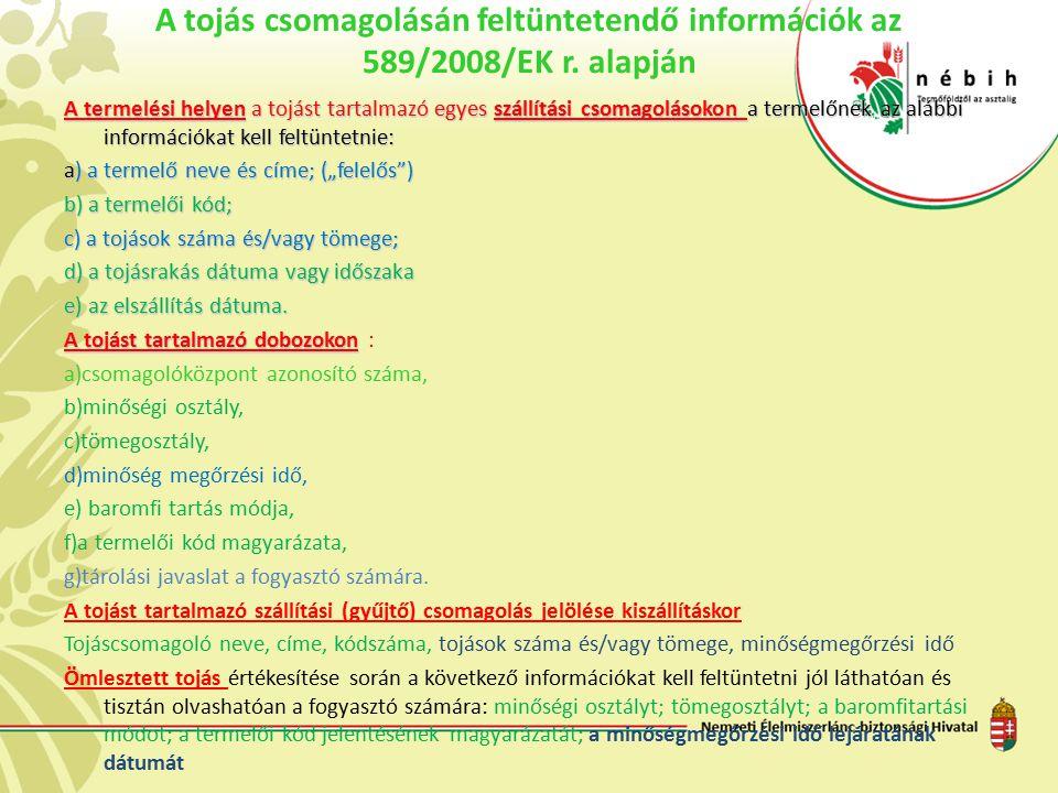 A tojás csomagolásán feltüntetendő információk az 589/2008/EK r