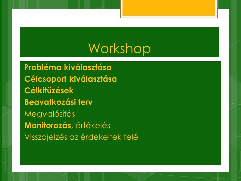 Workshop Probléma kiválasztása Célcsoport kiválasztása Célkitűzések