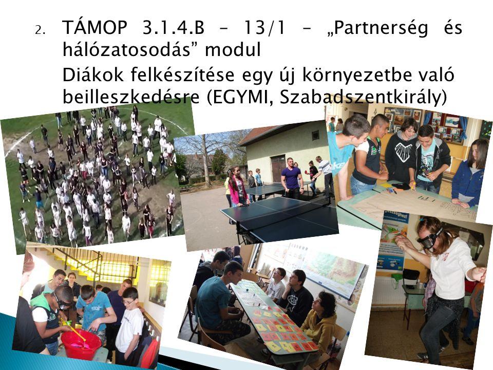 """TÁMOP 3.1.4.B – 13/1 – """"Partnerség és hálózatosodás modul"""