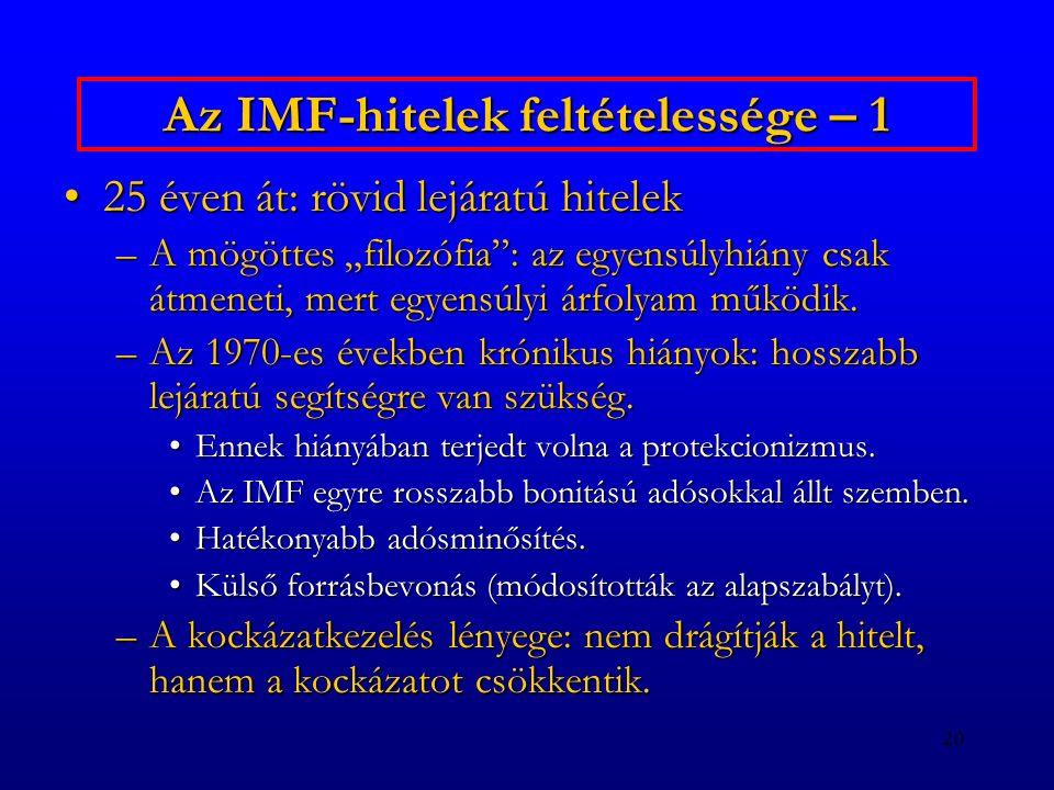 Az IMF-hitelek feltételessége – 1