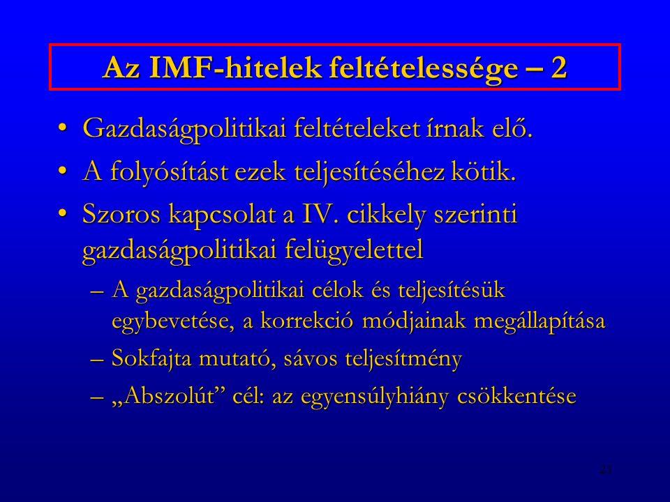 Az IMF-hitelek feltételessége – 2