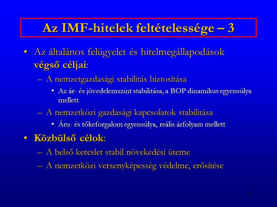 Az IMF-hitelek feltételessége – 3