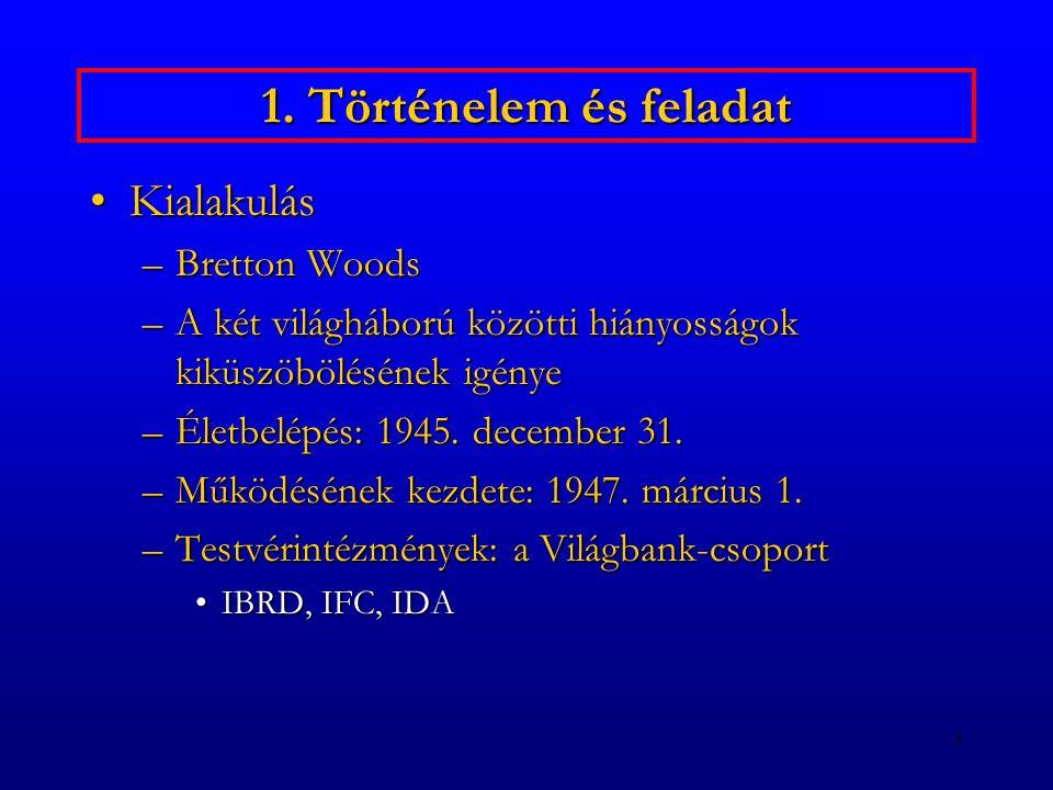 1. Történelem és feladat Kialakulás Bretton Woods