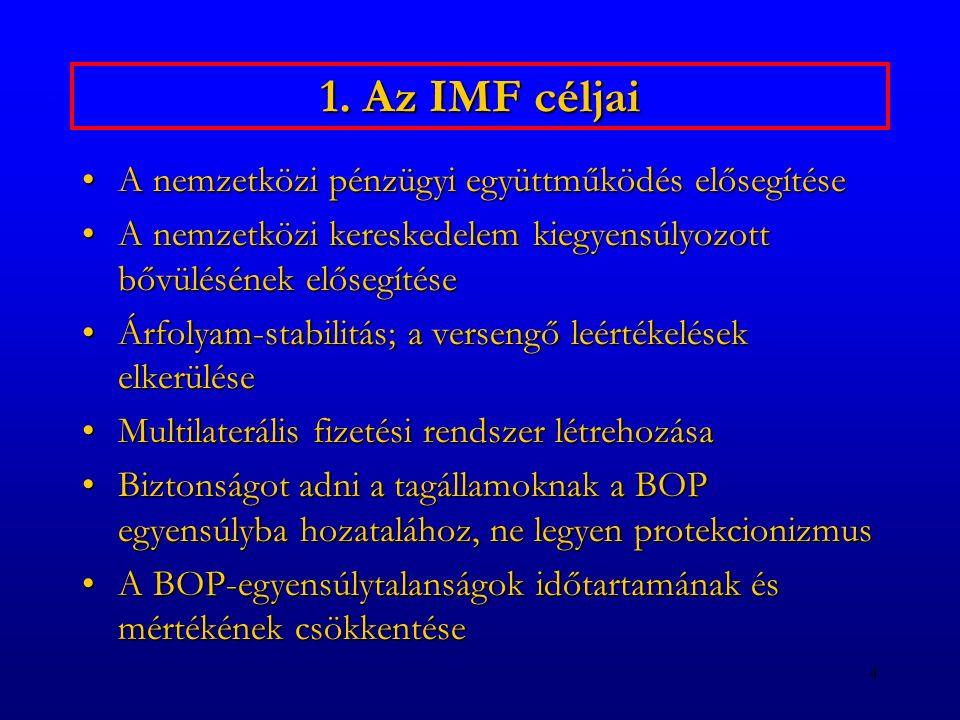 1. Az IMF céljai A nemzetközi pénzügyi együttműködés elősegítése