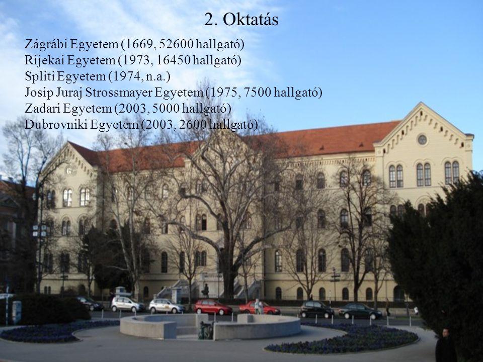 2. Oktatás Zágrábi Egyetem (1669, 52600 hallgató)