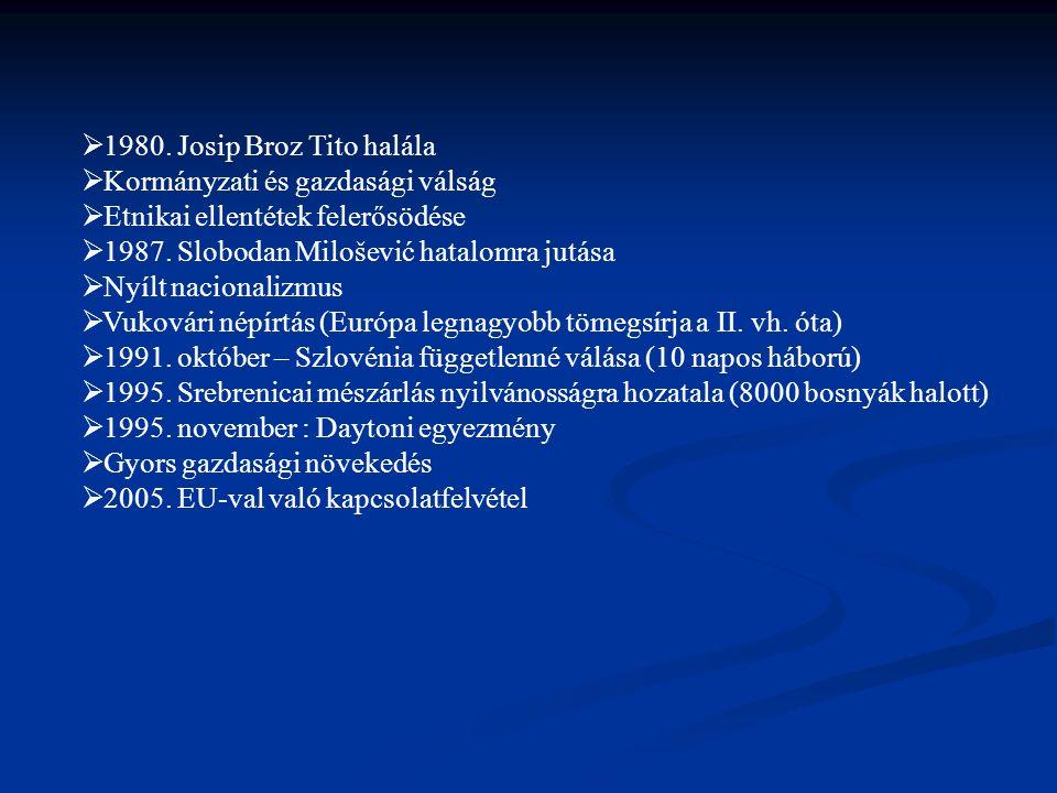 1980. Josip Broz Tito halála Kormányzati és gazdasági válság. Etnikai ellentétek felerősödése. 1987. Slobodan Milošević hatalomra jutása.