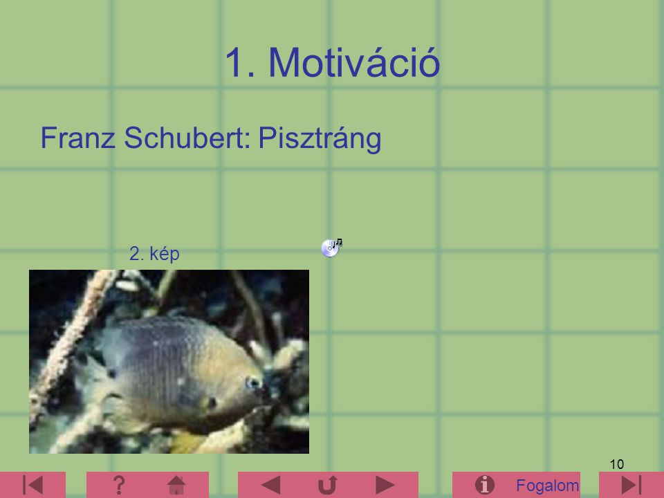 1. Motiváció Franz Schubert: Pisztráng 2. kép Fogalom