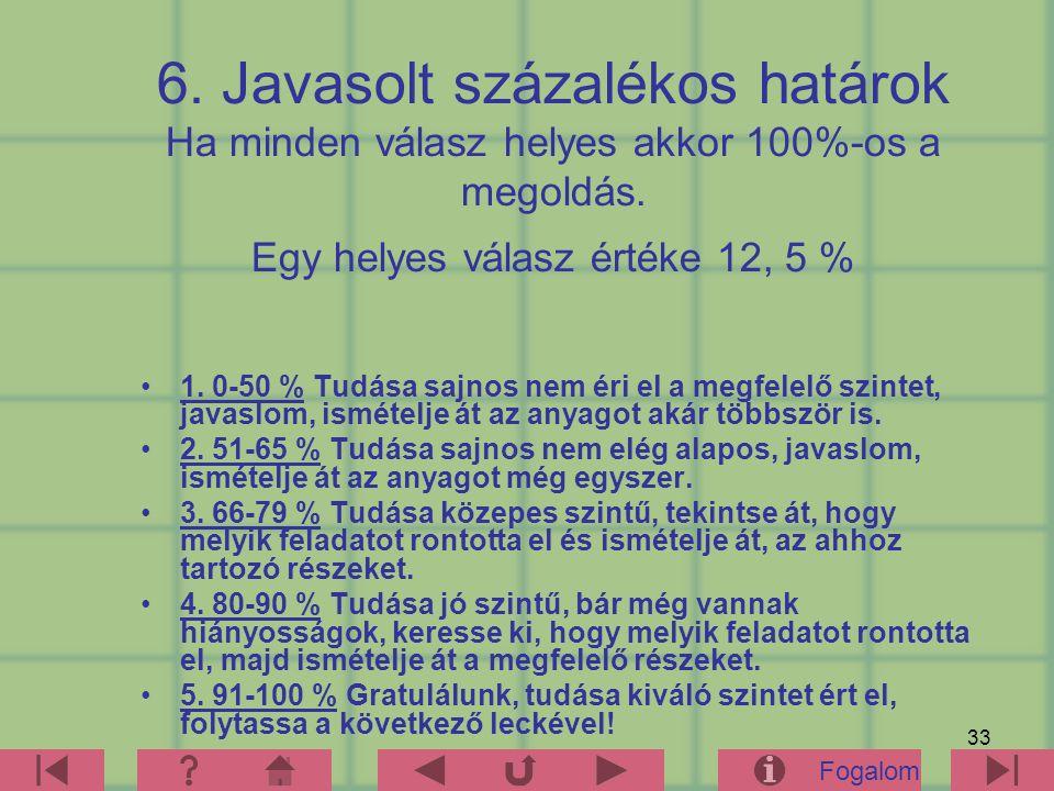 6. Javasolt százalékos határok Ha minden válasz helyes akkor 100%-os a megoldás. Egy helyes válasz értéke 12, 5 %