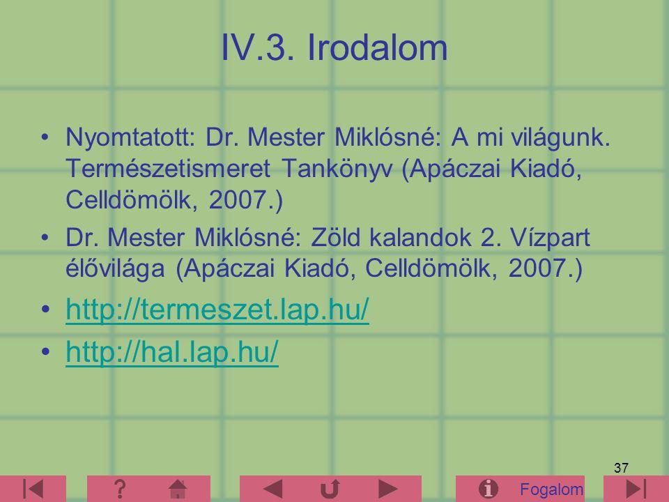 IV.3. Irodalom http://termeszet.lap.hu/ http://hal.lap.hu/