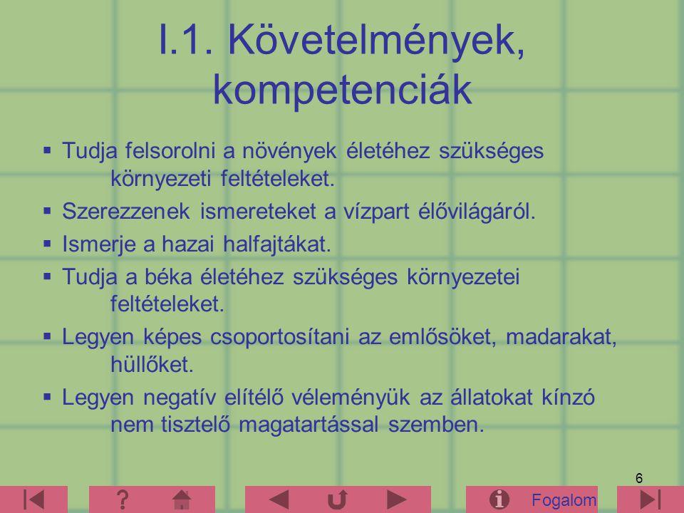 I.1. Követelmények, kompetenciák