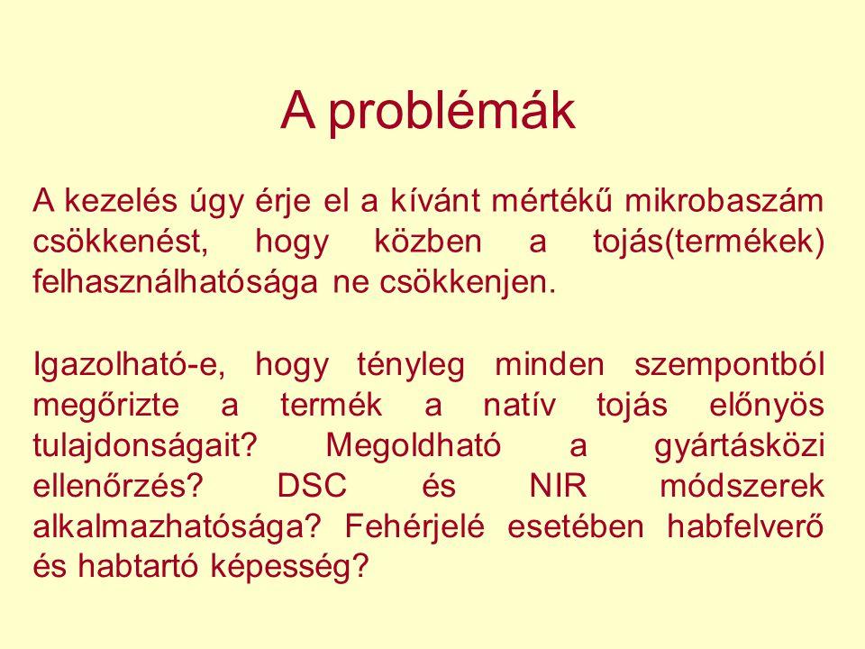 A problémák A kezelés úgy érje el a kívánt mértékű mikrobaszám csökkenést, hogy közben a tojás(termékek) felhasználhatósága ne csökkenjen.