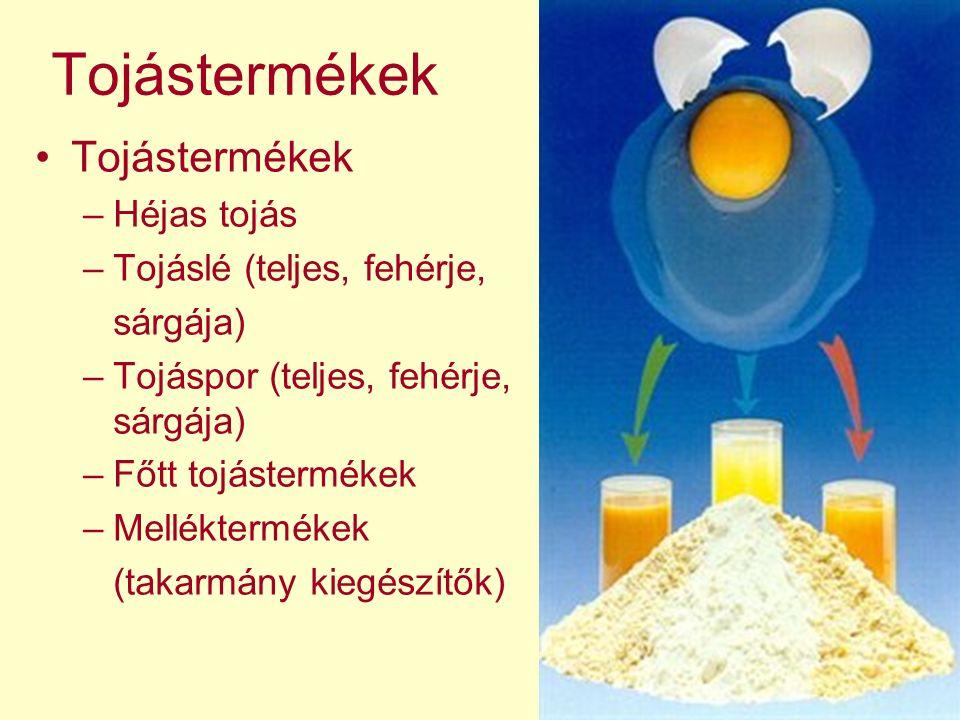 Tojástermékek Tojástermékek Héjas tojás Tojáslé (teljes, fehérje,