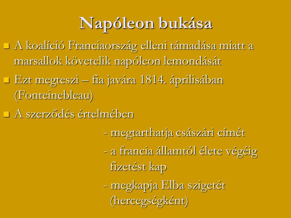 Napóleon bukása A koalíció Franciaország elleni támadása miatt a marsallok követelik napóleon lemondását.
