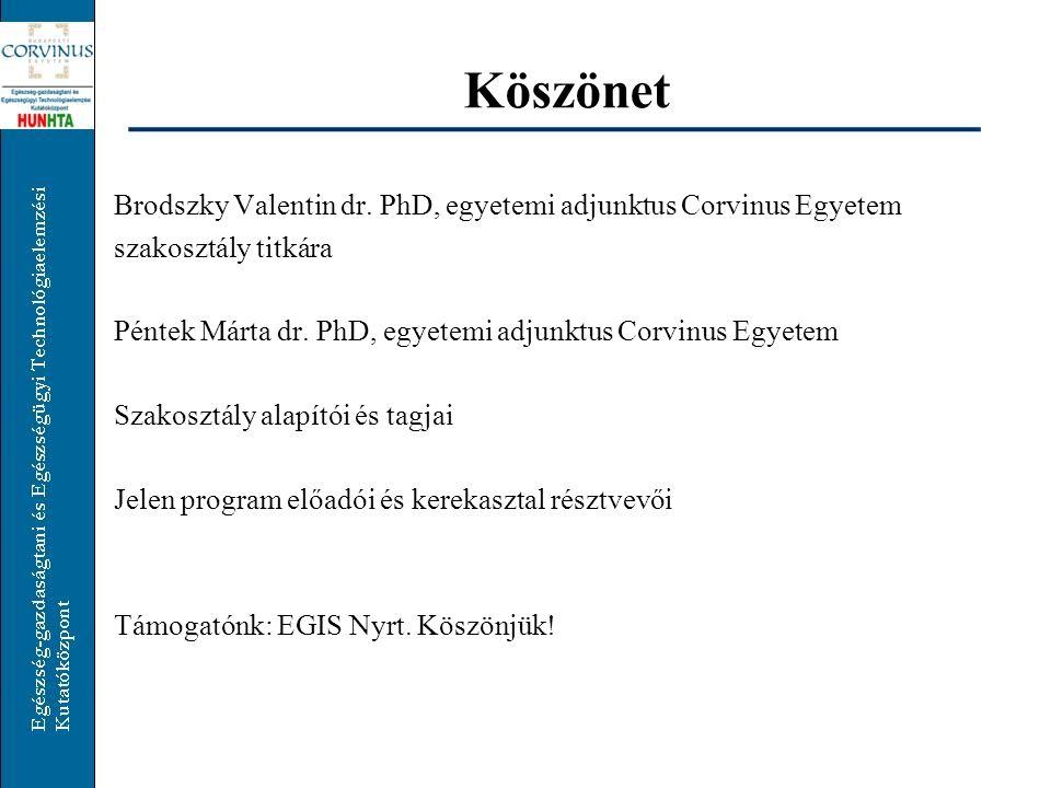 Köszönet Brodszky Valentin dr. PhD, egyetemi adjunktus Corvinus Egyetem. szakosztály titkára.