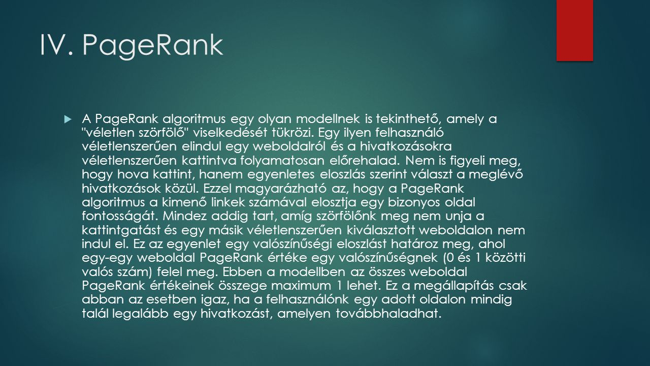 IV. PageRank