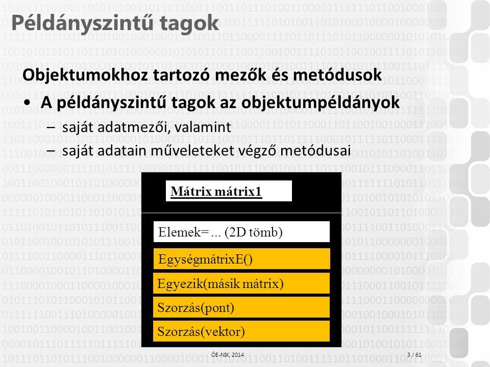 Példányszintű tagok Objektumokhoz tartozó mezők és metódusok