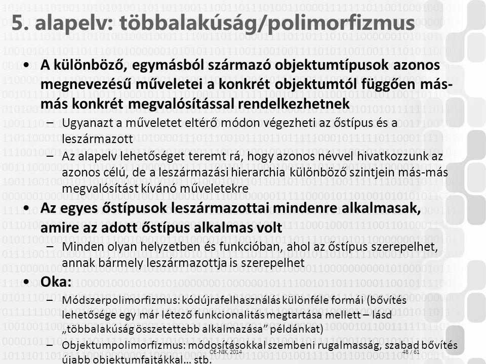 5. alapelv: többalakúság/polimorfizmus