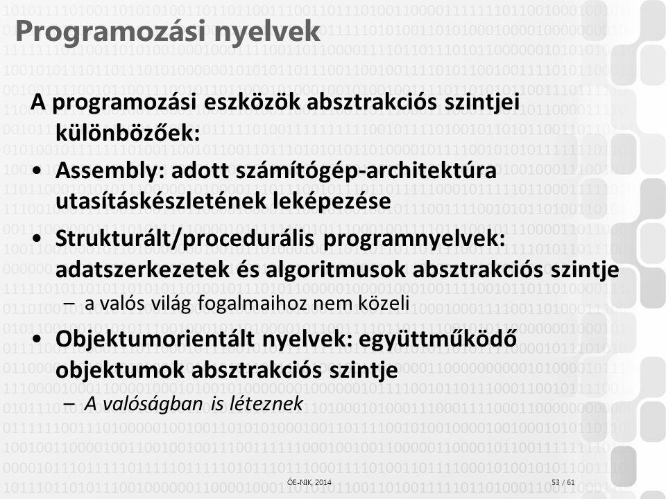 Prog1_OOP_modell Programozási nyelvek. A programozási eszközök absztrakciós szintjei különbözőek: