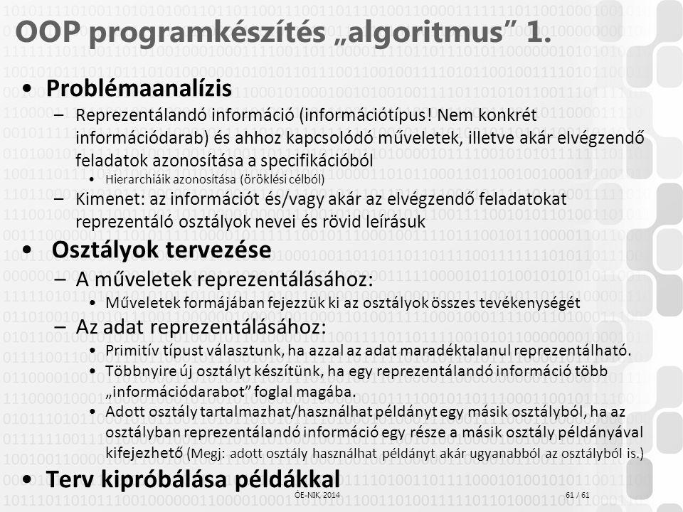 """OOP programkészítés """"algoritmus 1."""