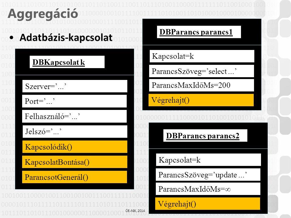 Aggregáció Adatbázis-kapcsolat DBParancs parancs1 Kapcsolat=k
