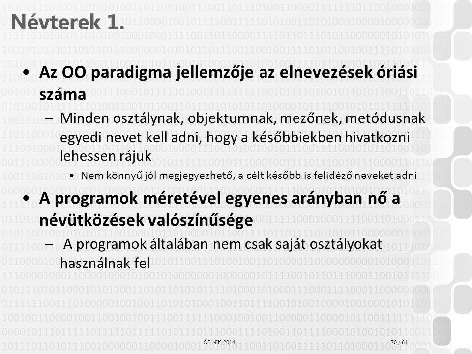 Névterek 1. Az OO paradigma jellemzője az elnevezések óriási száma