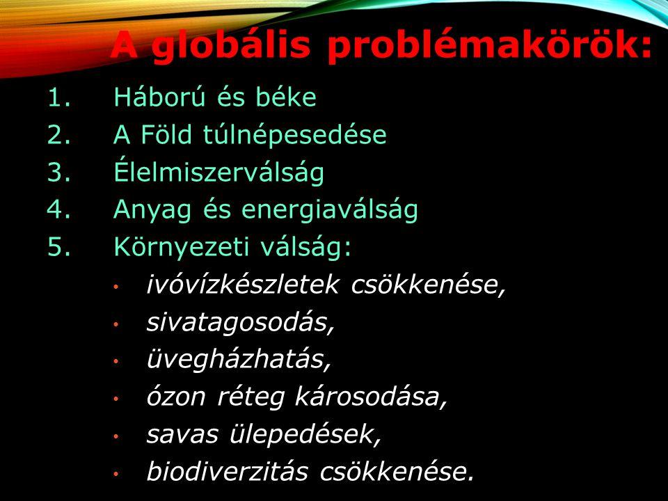 A globális problémakörök: