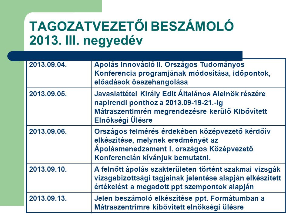 TAGOZATVEZETŐI BESZÁMOLÓ 2013. III. negyedév