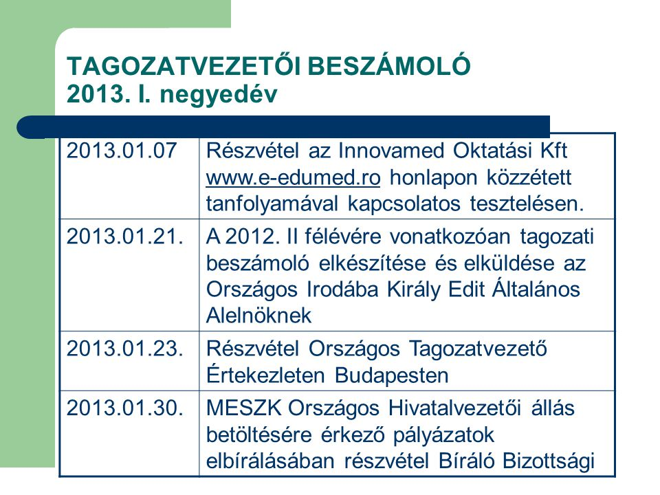 TAGOZATVEZETŐI BESZÁMOLÓ 2013. I. negyedév