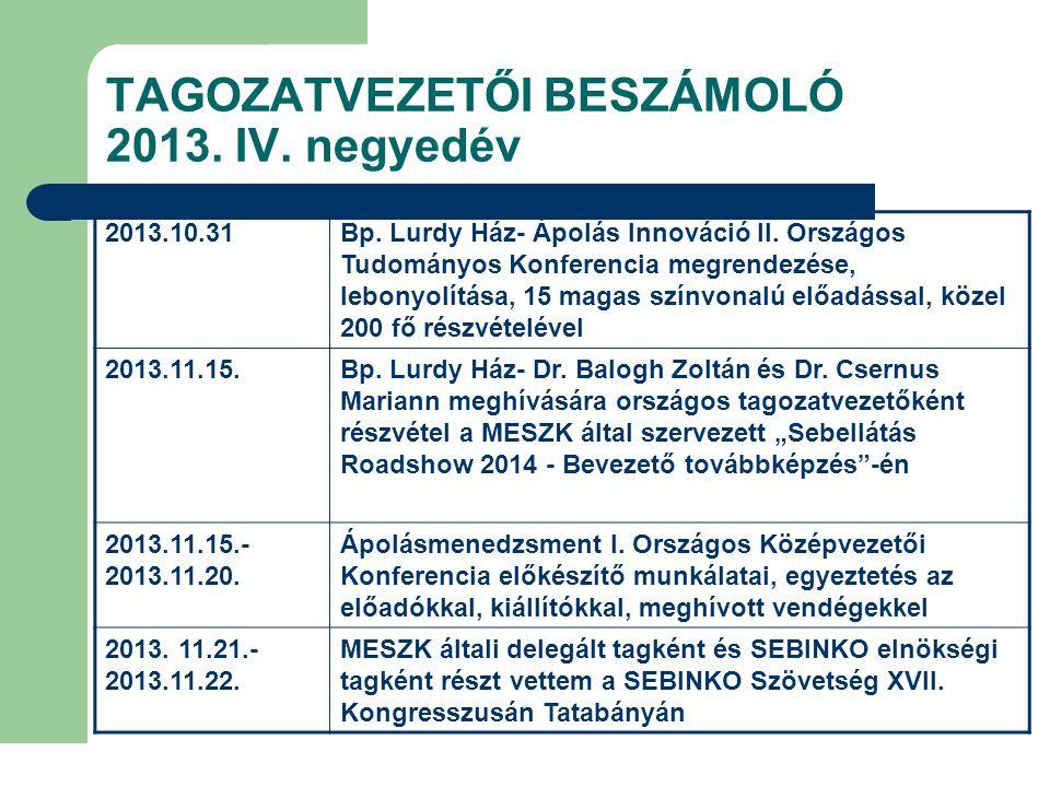 TAGOZATVEZETŐI BESZÁMOLÓ 2013. IV. negyedév