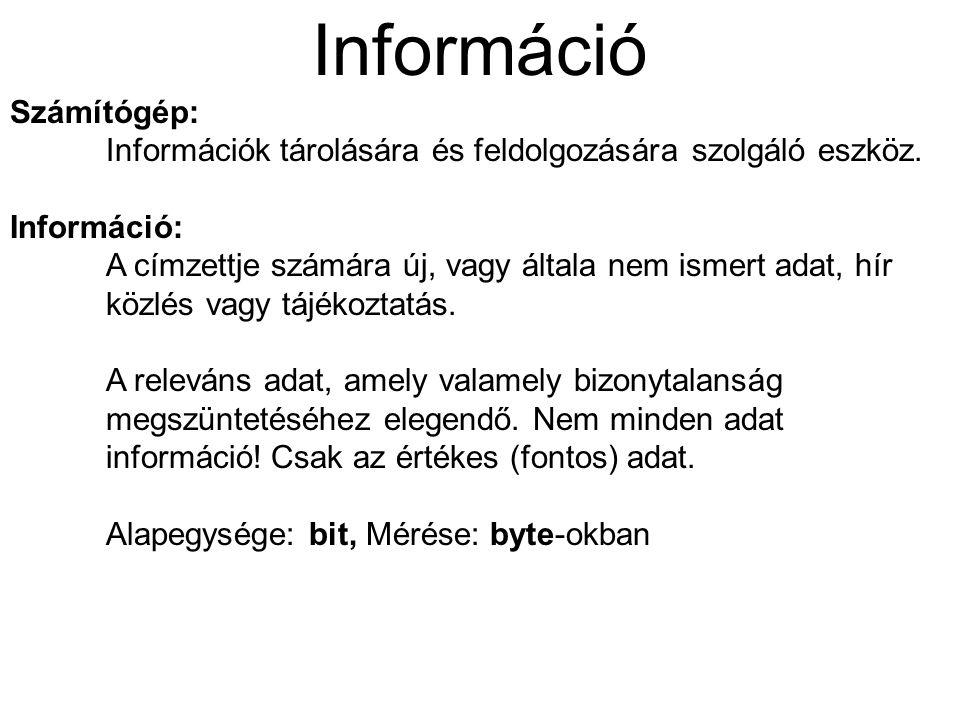 Információ Számítógép: