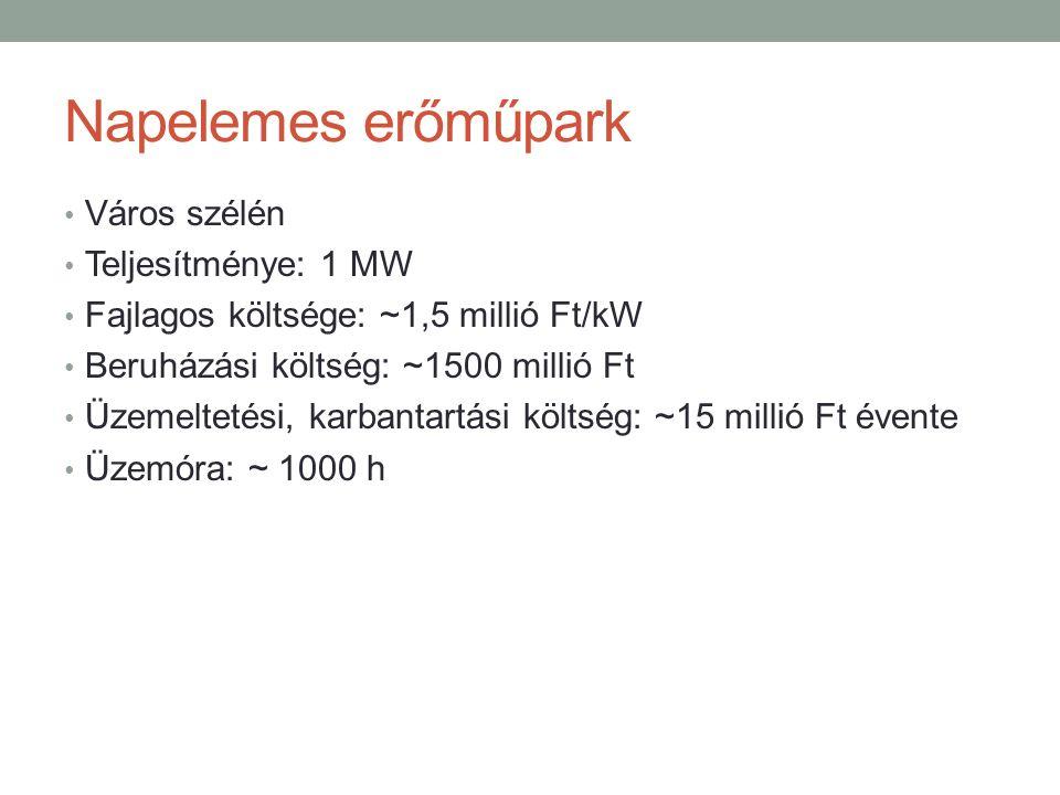 Napelemes erőműpark Város szélén Teljesítménye: 1 MW