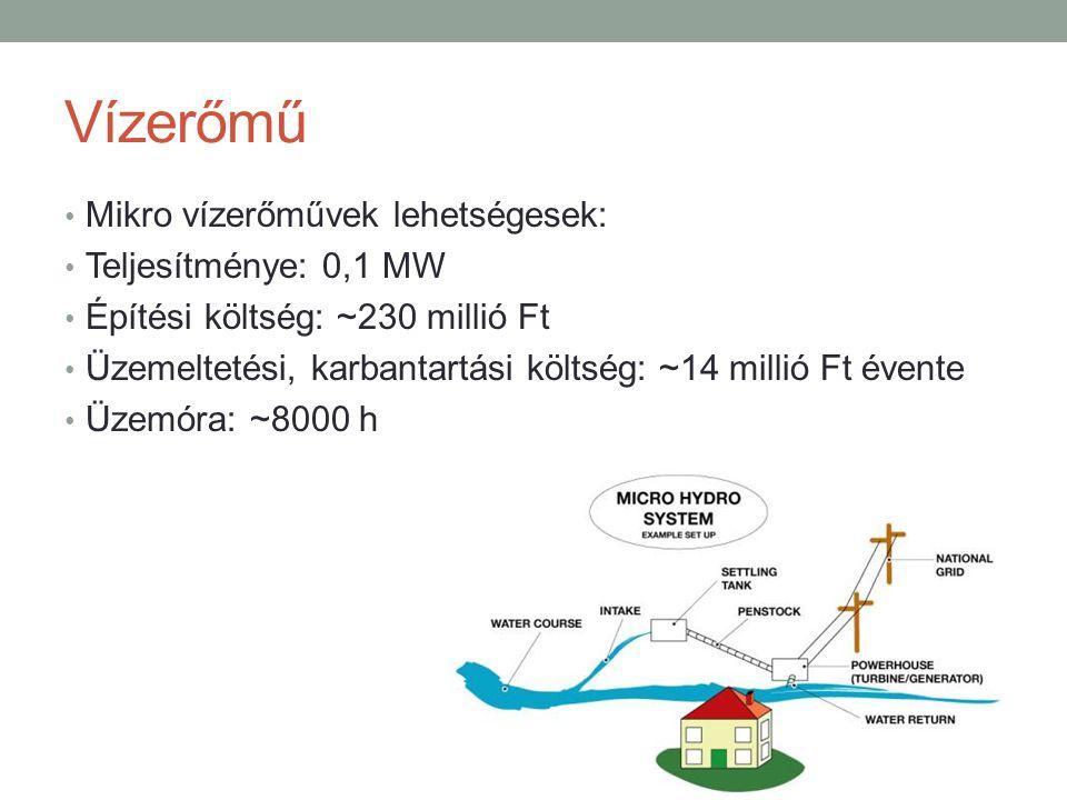 Vízerőmű Mikro vízerőművek lehetségesek: Teljesítménye: 0,1 MW