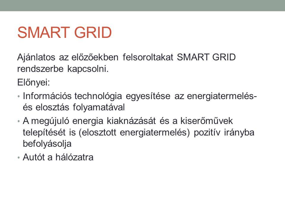 SMART GRID Ajánlatos az előzőekben felsoroltakat SMART GRID rendszerbe kapcsolni. Előnyei: