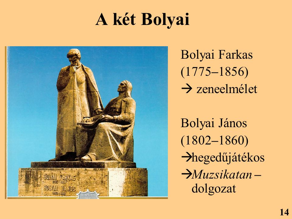 A két Bolyai Bolyai Farkas (1775–1856)  zeneelmélet Bolyai János