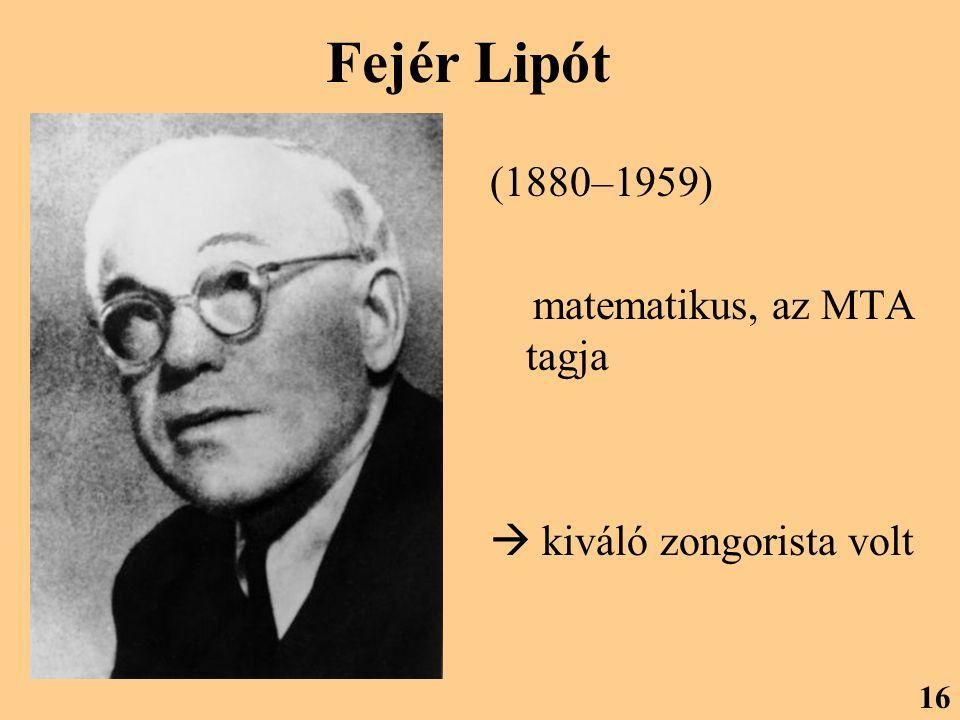 Fejér Lipót (1880–1959) matematikus, az MTA tagja